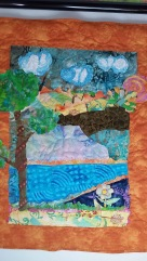 First Landscape Quilt with Fabric Paints and Pieced